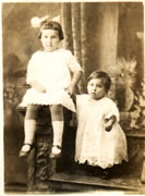First birthday with older sister Adelaide, September 28th, 1914